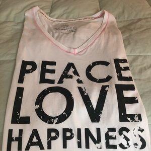 Peace Love Happiness white cotton tee shirt. XS
